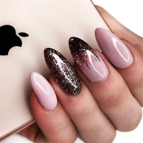 light pink manicure nails  dark glitter pictures