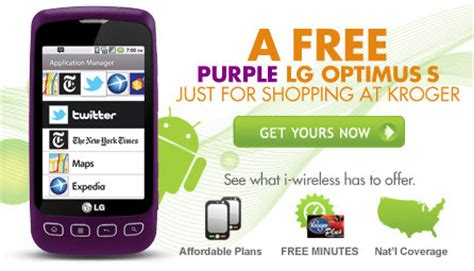 kroger i wireless phones get a free purple lg optimus s android smartphone from