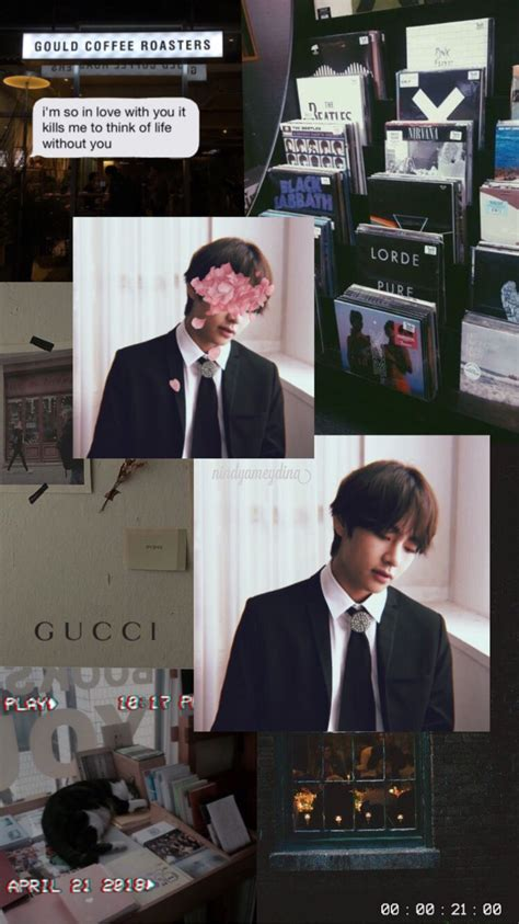 wallpaper lockscreen aesthetic taehyung v bts
