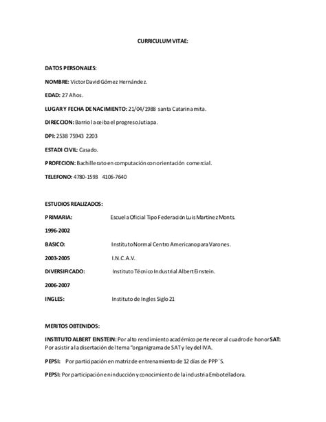 Ejemplos De Curriculum Vitae Guatemala Example Good Resume Template