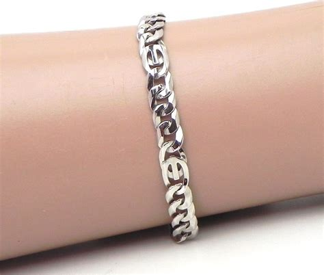 mens  white gold curb link bracelet bright jewelers