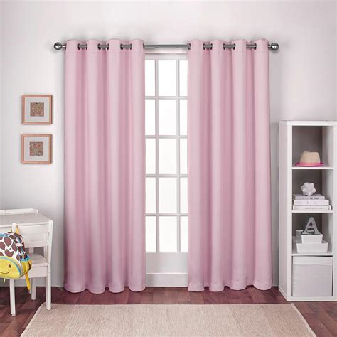 Pink Curtains by Textured Woven Gum Pink Blackout Grommet Top Window