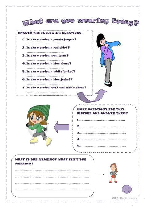 wearing today worksheet  esl printable