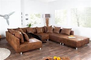 Canapé Vintage Cuir : canap d 39 angle cuir marron vintage canap id es de d coration de maison ggbmbdonxw ~ Teatrodelosmanantiales.com Idées de Décoration