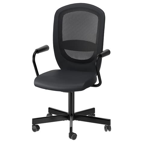 ikea office desk chair flintan nominell swivel chair with armrests black ikea