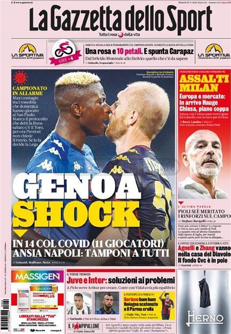 La prima pagina di Qs, Stadio, Gazzetta, Corriere dello ...