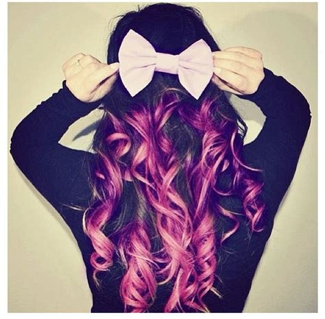 Purple Dip Dye Hair With A Cute Bow Dip Dye Hair