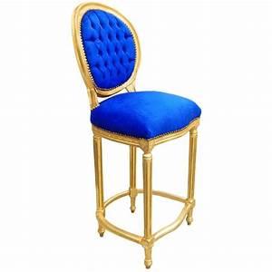 Chaise Velours Bleu : chaise de bar de style louis xvi pompon velours bleu et bois dor ~ Teatrodelosmanantiales.com Idées de Décoration