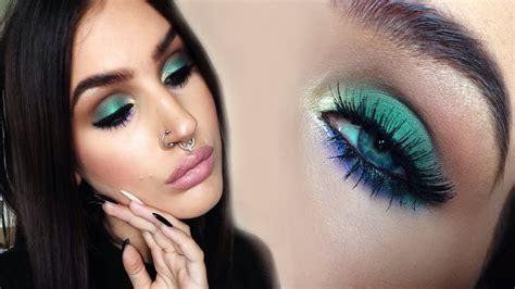 soft colorful smokey eyes green gold  purple makeup tutorial youtube