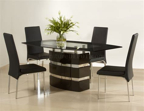 black high gloss finish modern dining table woptional chairs