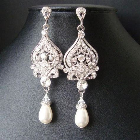 style bridal earrings white ivory pearl and
