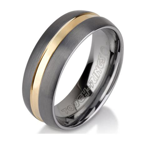 unique brushed tungsten ring mens wedding band