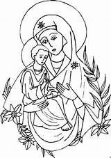 Mary Coloring Mother Pages Catholic Jesus God Crafts Blessed Maria Line Religion Drawing Sheets Malvorlage Ausmalbild Mit Azcoloring Template Virgin sketch template