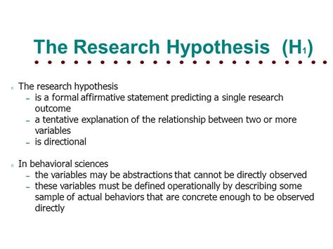 hypothesis testing null hypothesis  research hypothesis