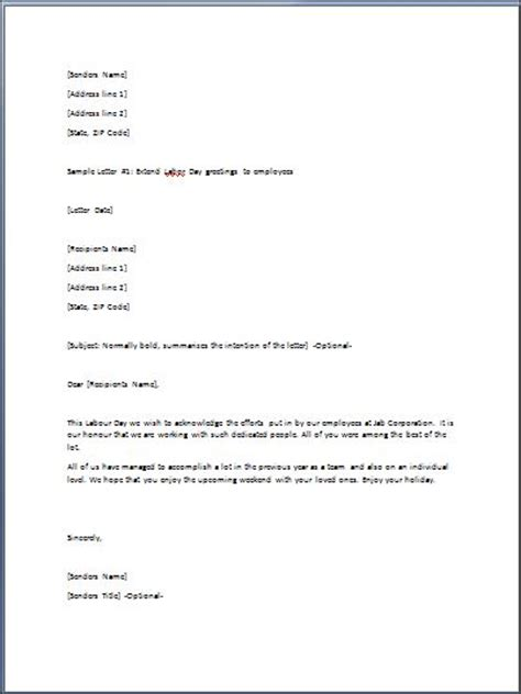 sample greeting letter template formal word templates