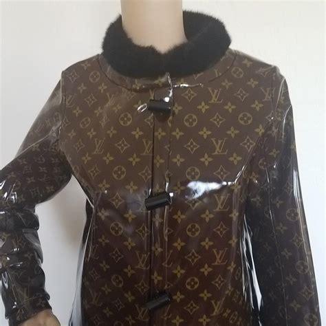 louis vuitton brown black beige lv monogram mink trim knee length trench coat size   tradesy