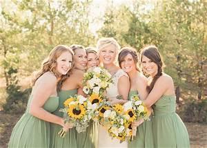 sage bridesmaid dresses sunflower bouquets wedding With sunflower wedding bridesmaid dresses