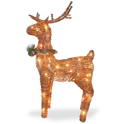 national tree company 39 4in rattan standing reindeer with