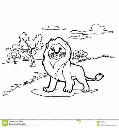Lion Coloring Cartoon Svector Kleuren Pagina Het