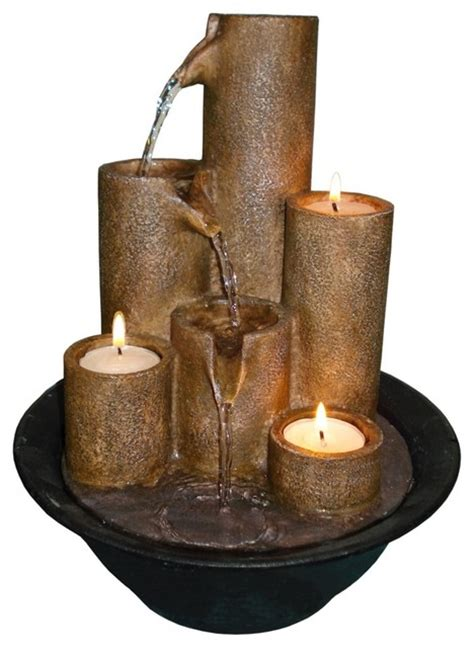 mini water fountain for desk three candles tabletop candle fountain traditional