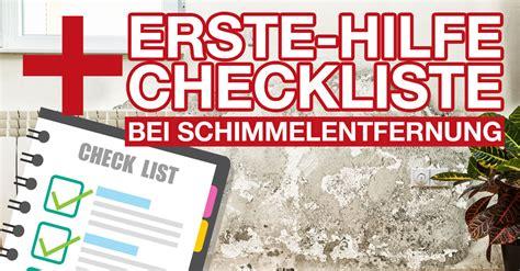 erste küche checkliste erste hilfe checkliste bei der schimmelentfernung