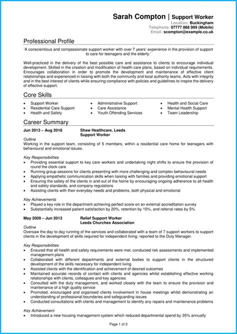 support worker cv  writing guide  job interviews