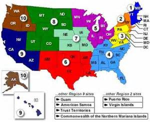 United States Map Divided by Regions