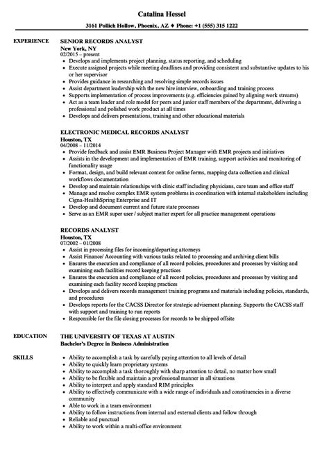 Records Resume by Records Analyst Resume Sles Velvet