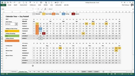 excel holiday training  absence planner  excel
