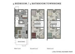 bedroom townhouse plans 4 bedroom townhome the cottages of tempe