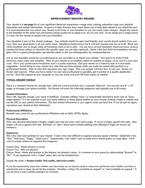 entertainment industry resume for free formtemplate