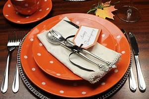 Thanksgiving Dinner Table Place Setting With Orange Plates