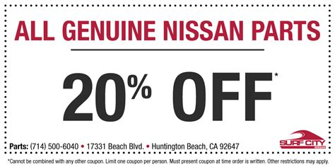 51870 Nissan Of Coupons by Nissan Parts Coupons Huntington Surf City Nissan