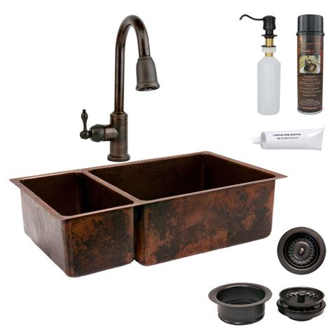 rubbed bronze kitchen sinks premier copper products all in one undermount hammered 7152
