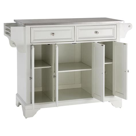 white kitchen island with stainless steel top lafayette stainless steel top kitchen island white dcg 2219