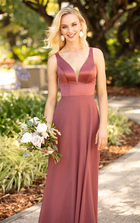 satin  chiffon bridesmaid dress  tie feature