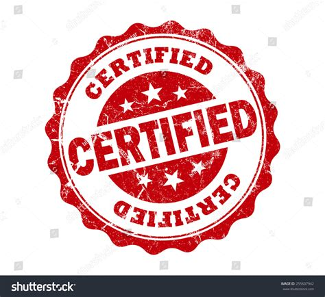 Certified Background Certified St On White Background Stock Photo 255607942