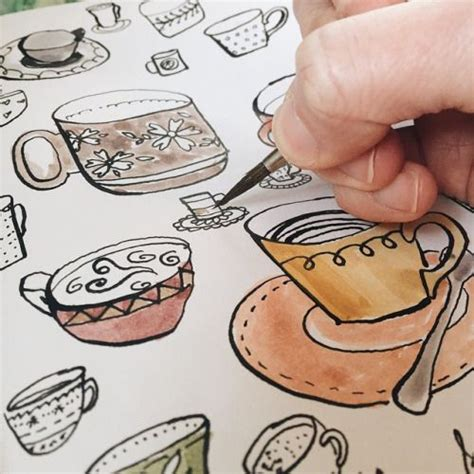 Learn how to draw coffee mug pictures using these outlines or print just for coloring. ink and watercolor coffee cups by Two if by Sea Studios surface pattern design and illustration ...