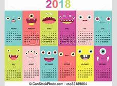 Lindo, mensualmente, 2018, caras, calendario, monstruos