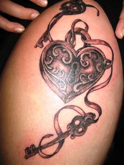 Grey Ink Lock Heart And Key Thigh Tattoo