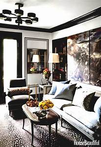 Living Room With Grey Walls And Brown Couch Cabinets
