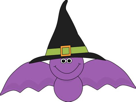 cute purple bat wearing  black witches hat clip art