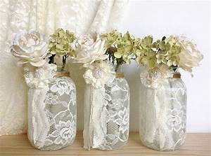3 ivory lace covered jar vases bridal shower decoration With lace decorations for wedding