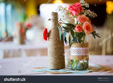 Diy Wedding Decor Table Centerpieces Wine Stock Photo