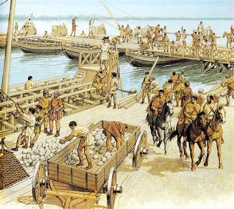 Romans building a bridge on boats over the Danube. | Roman ...