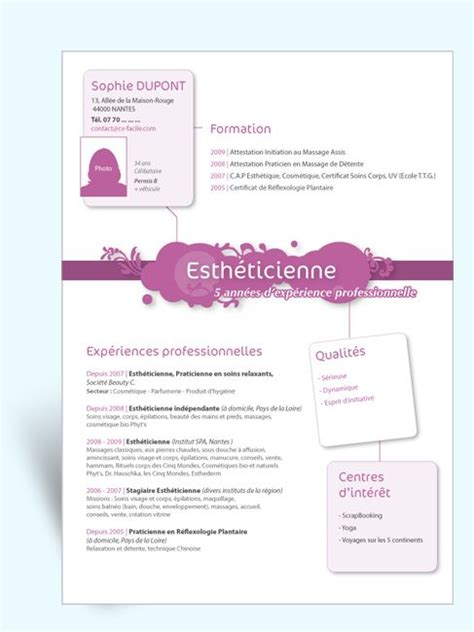 modele cv original estheticienne iii id cv