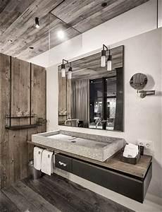 salle de bain en bois moderne et chic With salle de bain bois et pierre