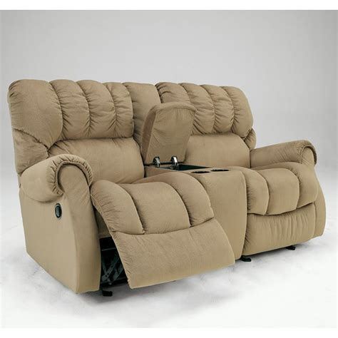 Dual Glider Reclining Loveseat by Sorrell Mocha Dual Glider Reclining Loveseat W Console