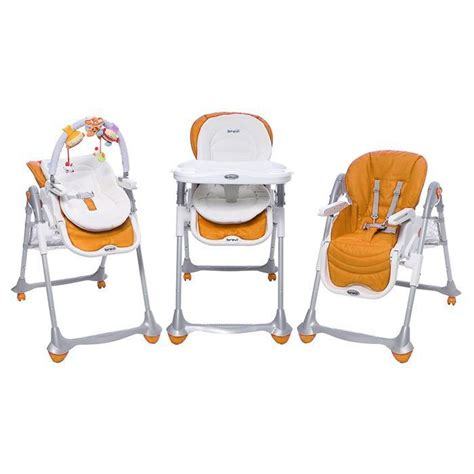 image chaise haute brevi b 3en1 orange