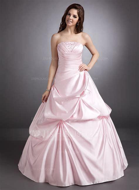 Ball Gown Strapless Floor Length Satin Quinceanera Dress